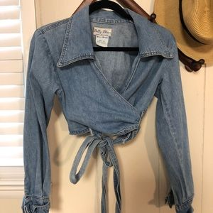 Vintage Billy Blues Tie Wrap Cropped Shirt